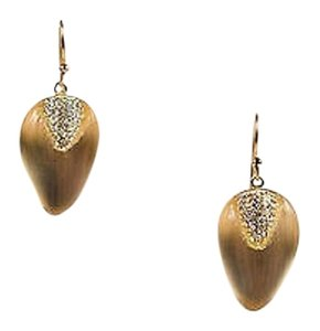Alexis Bittar Alexis Bittar Sand Beige Gold Tone Lucite Swarovski Crystal Pave Drop Earrings