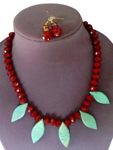 JC Creations artistic jewelry Turquoise natural stone with red crystal necklace and earrings set!