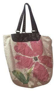 Old Navy Tote in Tan With Green And Pink