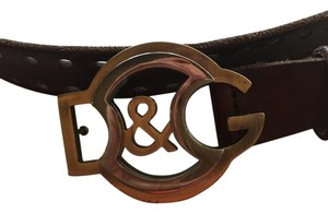 Dolce&Gabbana Men's brown leather holed belt with gold/silver buckle