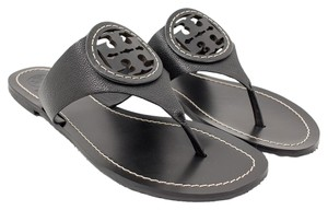 Tory Burch Leather Louisa Flats Thong Tumbled Leather Black Sandals