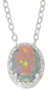Other Black Opal & Diamond Oval Pendant .925 Sterling Silver