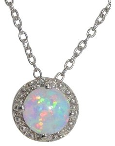 Other Opal & Diamond Round Pendant .925 Sterling Silver