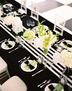 20 Black And White Stripe Satin Runners-other Colors Available