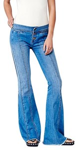 Free People Low Rise Super Denim Flare Leg Jeans-Distressed