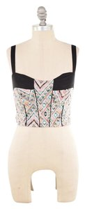 Bar III Cropped Removable Strap Top Pink Tribal Print