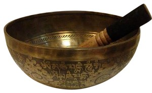 Authentic Tibetan Handmade Singing Bowl Set - Antique Carved Finish