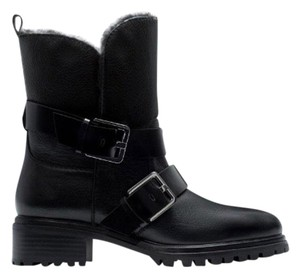 Zara Leather Faux Fur Combat black Boots