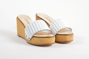 Chanel Woven Leather White Sandals