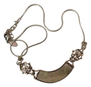Silvertone Necklace/Mother of Pearl/ tiny different colored stones