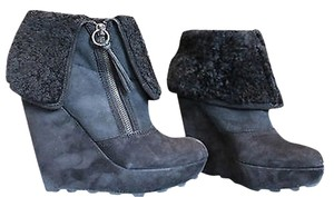Ash Suede Zipper Shearling Bootie Black Boots