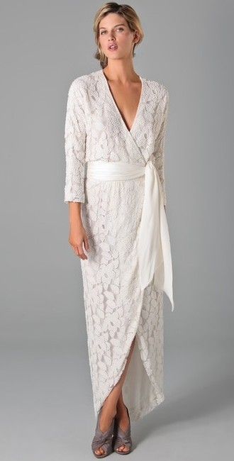 Item - White Kimono Wrap Long Sleeve Gown #brs12lb192 Vintage Wedding Dress Size 2 (XS)