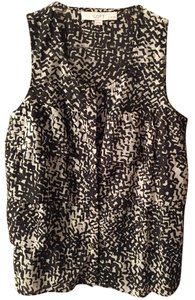 Ann Taylor LOFT Button Down Sleeveless Black And White Sexy Night Out Top
