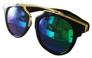 Sunglasses Black and Iridescent Lenses NEW