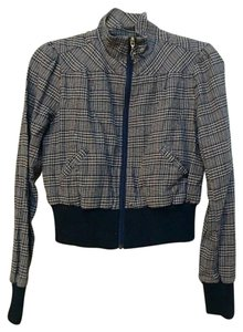 Guess Bomber Plaid Fall Winter Jacket Top Blue