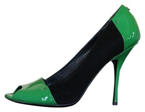 Gucci Color-block Two-tone Suede Patent Black and Green Pumps