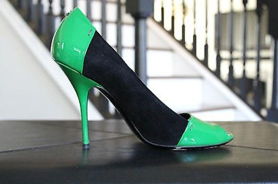 Gucci Color-block Suede Patent Black and Green Pumps