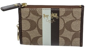 Coach Coach Brown Multicolor Coated Canvas Card Holder Key Chain Wallet