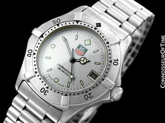 Tag heuer silver with luminous baton indices professional 2000 mens diver we1211r watch tradesy for Tag heuer divers watch