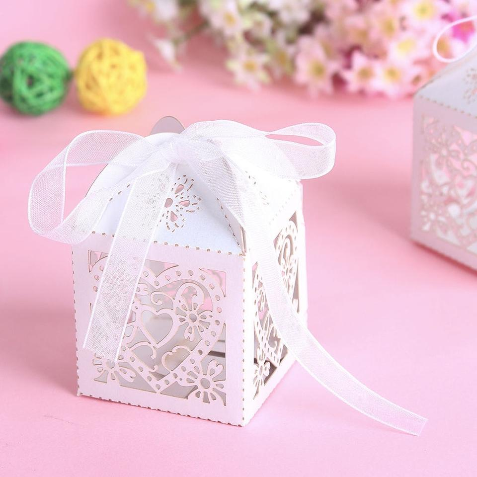 White 50 Love Heart Laser Cut Candy Gift Boxes with Ribbon Wedding ...
