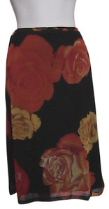 Express Floral Skirt Black & Orange