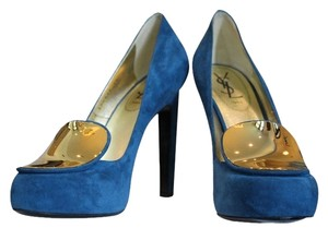 Saint Laurent Yves 40 Suede Gold Hardware Hidden Platform 105mm Blue Pumps