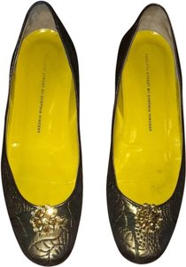 Twelfth St. by Cynthia Vincent Brocade Crystal Metalic Ballet Jacquard Gold - Black Flats