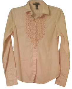Ralph Lauren Shirt Work Business Button Down Shirt pink and white