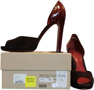 Sergio Rossi Suede Patent D'orsay Peep Toe Open Toe Platform Wine Pumps