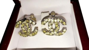 Chanel Chanel Vintage Cc Logos Silver Rhinestone Earrings Clip-on