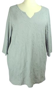 Denim 24/7 Plus Size Fashions Textured 3/4 Length Sleeves Top
