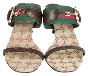 Gucci Leather Gold Hardware Gg Beige, Red, Brown Sandals