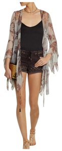 Topshop Embellished Beaded Denim Mini/Short Shorts brown/gold