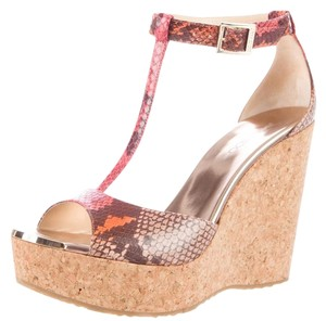 Jimmy Choo Snakeskin Cork Ankle Strap Red, Beige, Gold Wedges