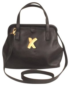 Paloma Picasso Cross Body Leather Vintage Satchel in Black