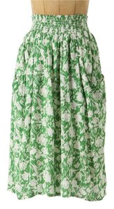 Anthropologie Porridge Vintage Floral Stretch Anthro Pockets Skirt Green