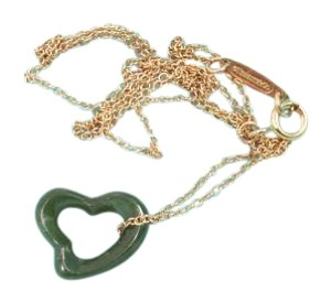 Tiffany & Co. Tiffany & Co Peretti Carved Green Jade Open Heart Gold Chain Necklace