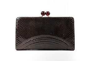 Bottega Veneta Genuine Python Leather Kiss Lock Brown Clutch
