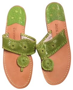 Jack Rogers Jacks Lilly Exotic Leather Lime Sandals