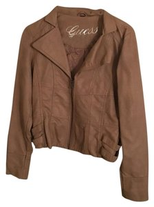 Guess Leather Tan Leather Jacket