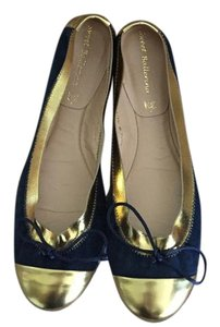 Sweet Ballerina Leather Rubber Sole Made In Italy Ballet Navy/Gold Flats