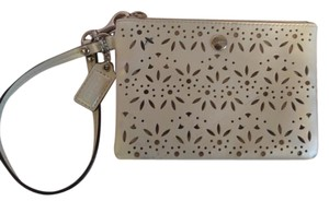 Coach Leather Wristlet in White