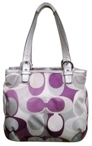 Coach Tote in Silver/White Multi