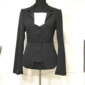Dream Culture Fitted Bell Sleeve Unique Neckline Black Blazer