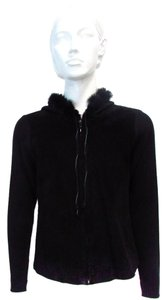 Cynthia Steffe Hooded Micro Suede Black Jacket