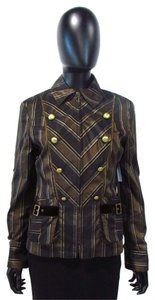Apriori Double Breasted Striped Black and Brown Jacket