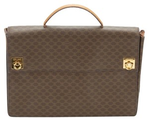Céline Briefcase Monogram Leather Gold Hardware Laptop Bag