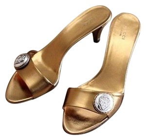 Gucci Hysteria Leather Gold Sandals