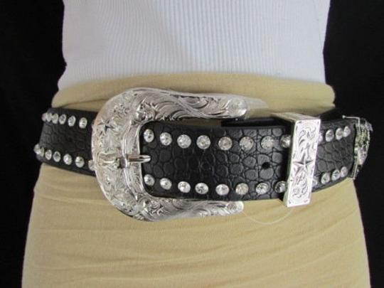Other A Women Belt Black Leather Fashion Bows Rhinestones Silver Buckle 31-36