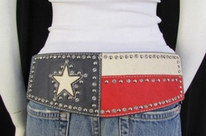 Montana West Women Navy Blue Leather Elastic Wide Western Fashion Belt Texas Star Flag